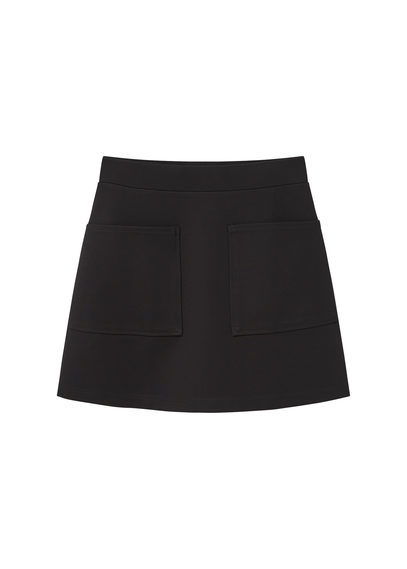 Pocket Skirt - length: mid thigh; pattern: plain; fit: loose/voluminous; waist: mid/regular rise; predominant colour: black; occasions: casual, creative work; style: a-line; fibres: polyester/polyamide - 100%; pattern type: fabric; texture group: woven light midweight; wardrobe: basic; season: a/w 2016