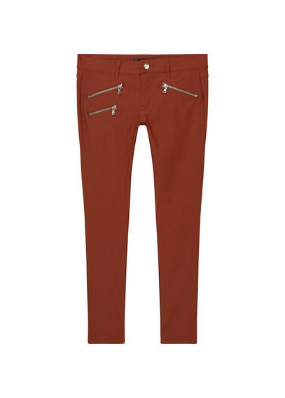 Zip Pocket Slim Fit Trousers - pattern: plain; waist: low rise; predominant colour: terracotta; occasions: casual; length: ankle length; fibres: cotton - stretch; texture group: cotton feel fabrics; fit: skinny/tight leg; pattern type: fabric; style: standard; season: a/w 2016