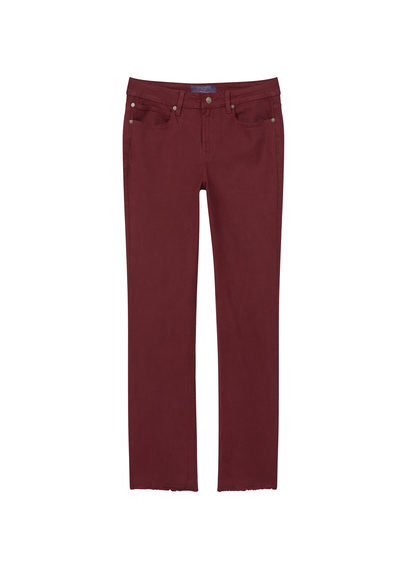 Straight Cotton Trousers - length: standard; pattern: plain; pocket detail: traditional 5 pocket; waist: mid/regular rise; predominant colour: burgundy; occasions: casual; fibres: cotton - 100%; texture group: cotton feel fabrics; fit: straight leg; pattern type: fabric; style: standard; season: a/w 2016; wardrobe: highlight