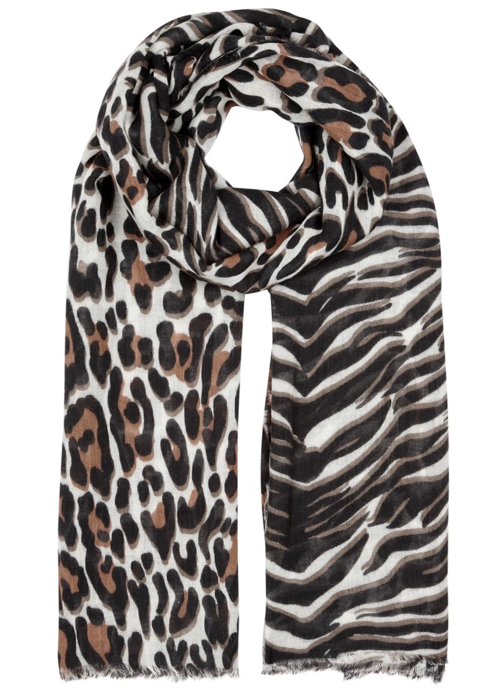 Ivory Animal Print Wool Blend Scarf - secondary colour: white; predominant colour: chocolate brown; occasions: casual; type of pattern: heavy; style: regular; size: standard; material: fabric; pattern: animal print; season: a/w 2016; wardrobe: highlight