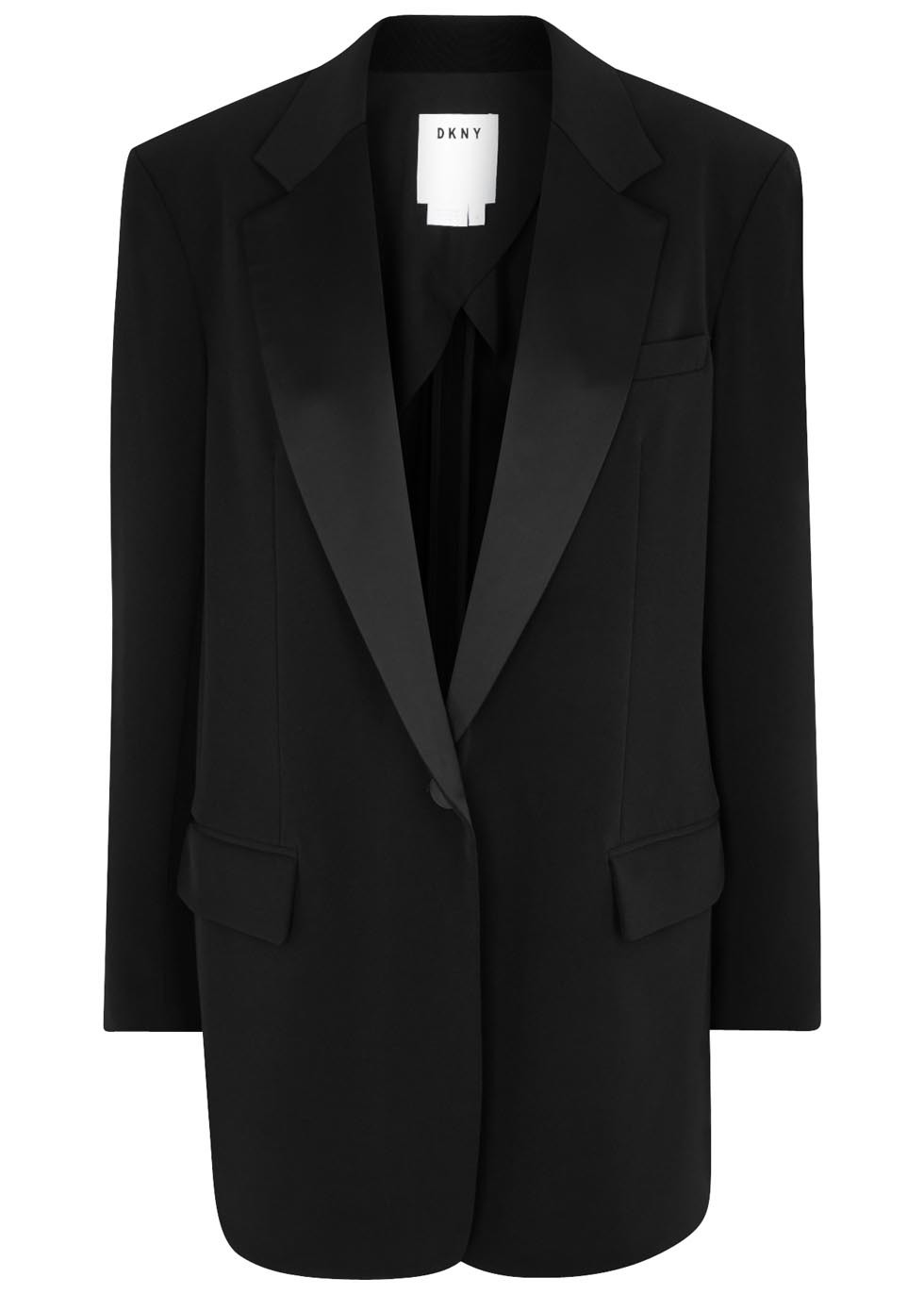 Black Faille Tuxedo Jacket - pattern: plain; style: single breasted tuxedo; length: below the bottom; collar: standard lapel/rever collar; predominant colour: black; occasions: evening; fit: straight cut (boxy); fibres: polyester/polyamide - mix; sleeve length: long sleeve; sleeve style: standard; collar break: low/open; pattern type: fabric; texture group: other - light to midweight; season: a/w 2016; wardrobe: event