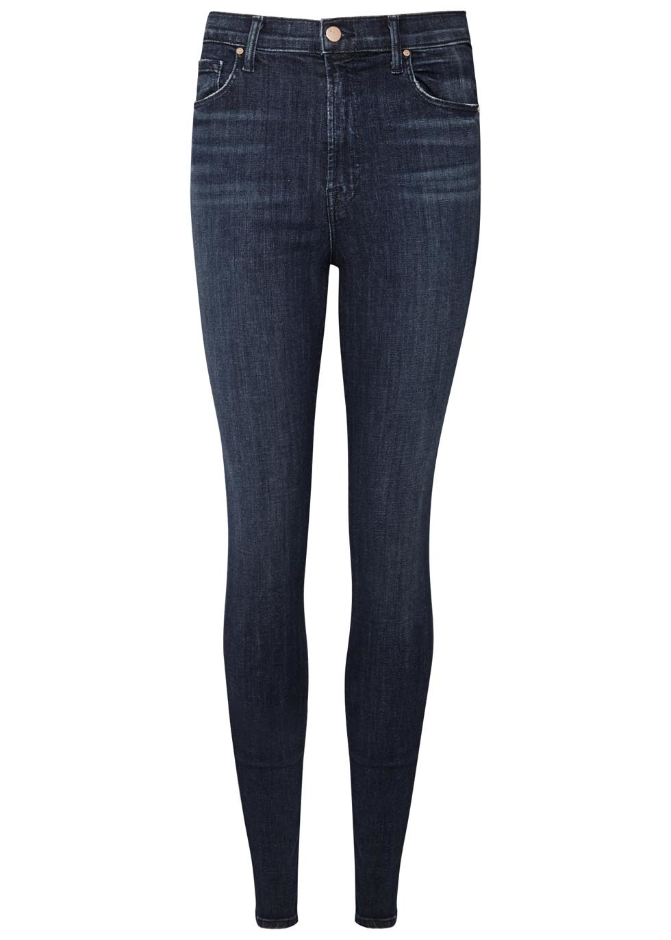 Carolina Indigo High Rise Skinny Jeans - style: skinny leg; length: standard; pattern: plain; waist: high rise; pocket detail: traditional 5 pocket; predominant colour: navy; occasions: casual, evening, creative work; fibres: cotton - stretch; jeans detail: dark wash; texture group: denim; pattern type: fabric; wardrobe: basic; season: a/w 2016