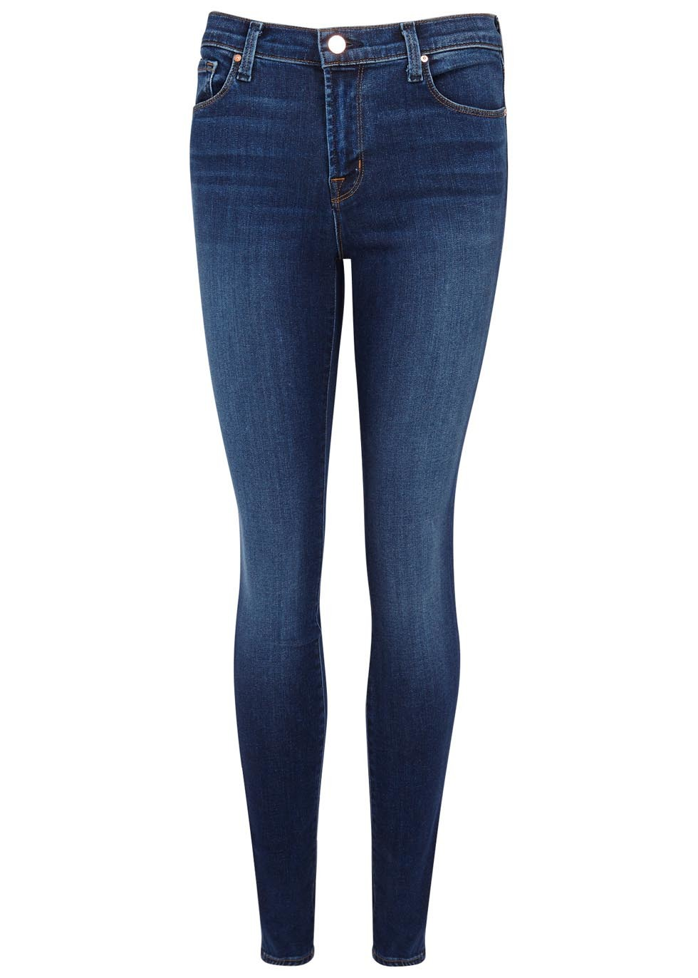 811 Dark Blue Skinny Jeans - style: skinny leg; length: standard; pattern: plain; pocket detail: traditional 5 pocket; waist: mid/regular rise; predominant colour: navy; occasions: casual; fibres: cotton - stretch; jeans detail: dark wash; texture group: denim; pattern type: fabric; wardrobe: basic; season: a/w 2016