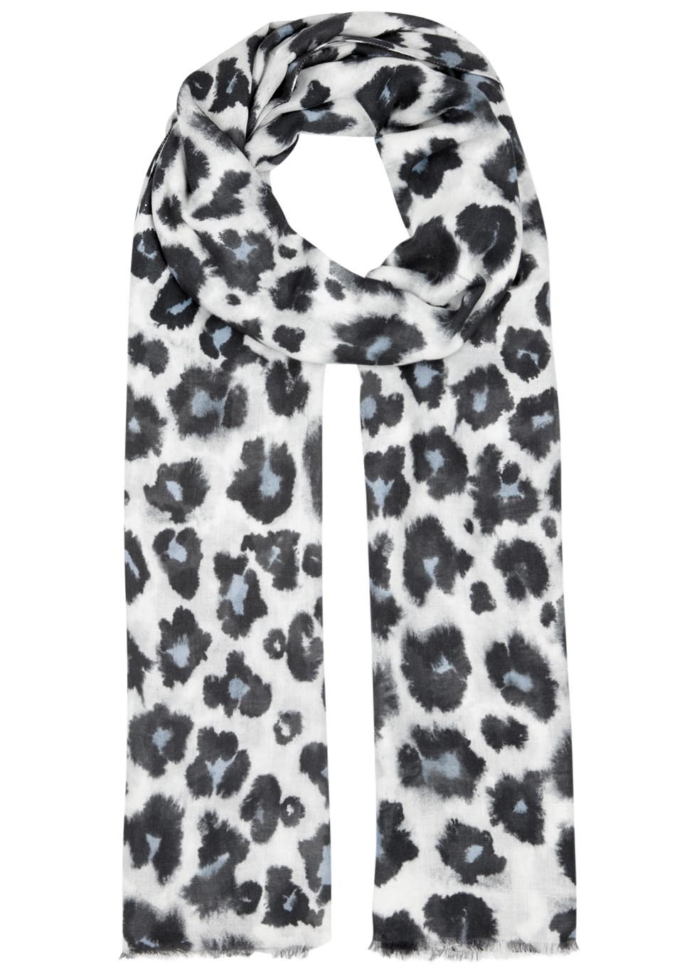 Isla Leopard Print Modal Blend Scarf - secondary colour: white; predominant colour: black; occasions: casual; type of pattern: heavy; style: regular; size: standard; material: fabric; pattern: animal print; season: a/w 2016; wardrobe: highlight