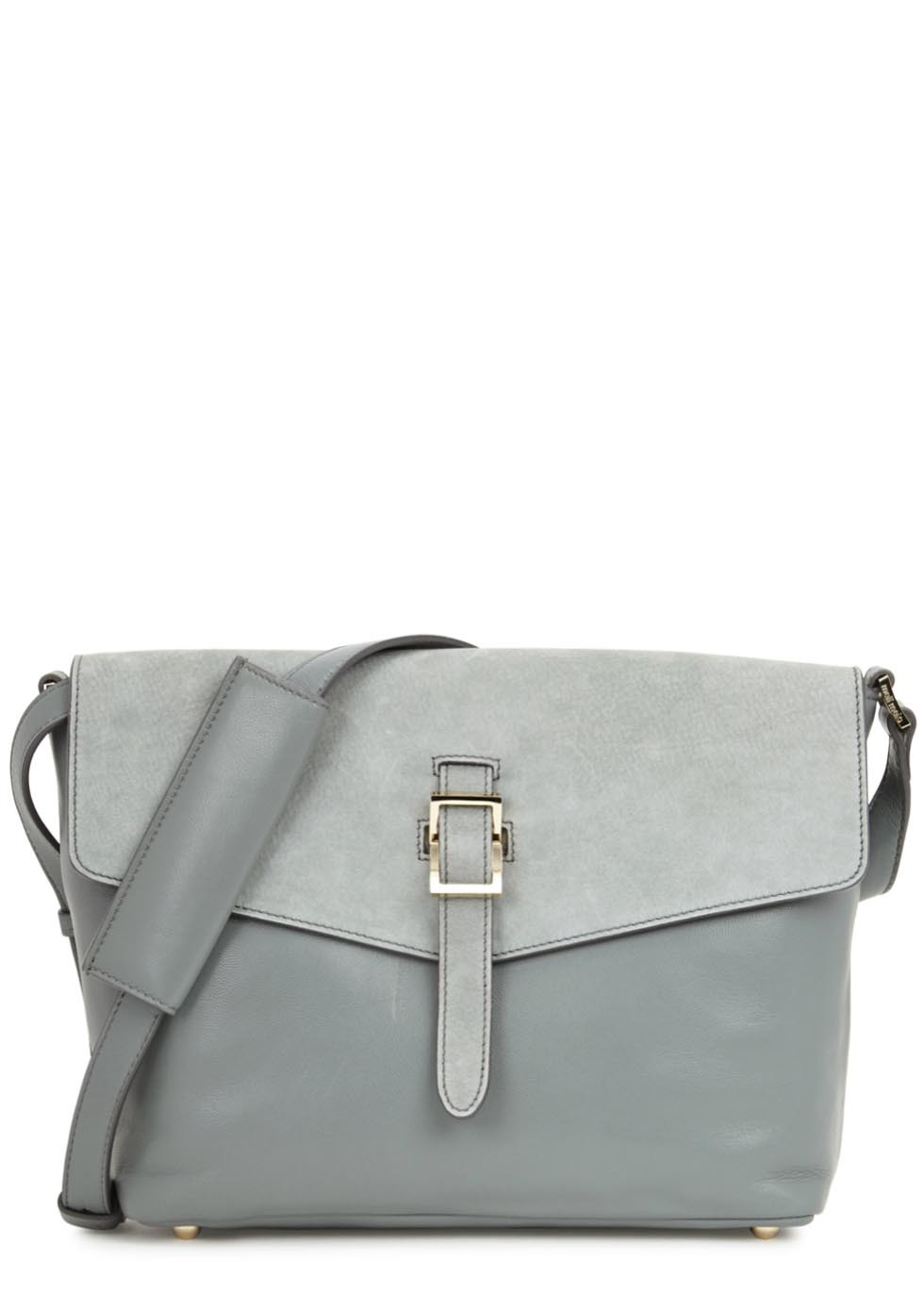 Maisie Medium Grey Leather Shoulder Bag - secondary colour: mid grey; predominant colour: light grey; occasions: casual, creative work; type of pattern: standard; style: shoulder; length: shoulder (tucks under arm); size: standard; material: leather; pattern: plain; finish: plain; wardrobe: investment; season: a/w 2016