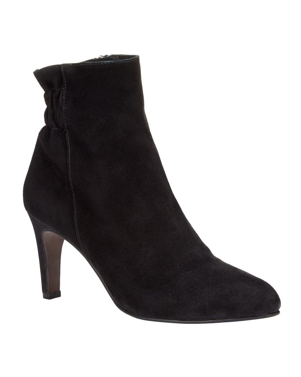 Jenny Ankle Boot - predominant colour: black; occasions: casual, creative work; material: suede; heel height: mid; heel: stiletto; toe: pointed toe; boot length: ankle boot; style: standard; finish: plain; pattern: plain; wardrobe: basic; season: a/w 2016
