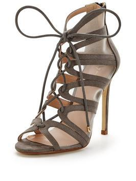 Saffron Lace Up Strappy Heeled Sandal - predominant colour: taupe; occasions: evening, occasion; material: fabric; heel height: high; ankle detail: ankle strap; heel: stiletto; toe: open toe/peeptoe; style: strappy; finish: plain; pattern: plain; season: a/w 2016
