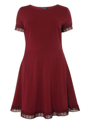Womens Dp Curve Plus Size Berry Lace Trim Dress Red - pattern: plain; predominant colour: burgundy; occasions: evening; length: just above the knee; fit: fitted at waist & bust; style: fit & flare; fibres: polyester/polyamide - stretch; neckline: crew; sleeve length: short sleeve; sleeve style: standard; pattern type: fabric; texture group: jersey - stretchy/drapey; embellishment: lace; season: a/w 2016; wardrobe: event; embellishment location: trim