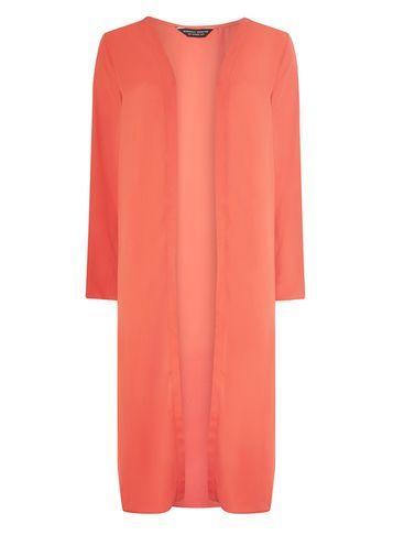 Womens Orange Maxi Cover Up Orange - pattern: plain; neckline: collarless open; style: open front; length: on the knee; predominant colour: coral; occasions: casual; fibres: polyester/polyamide - 100%; fit: standard fit; sleeve length: 3/4 length; sleeve style: standard; texture group: knits/crochet; pattern type: fabric; season: a/w 2016