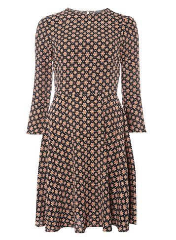 Womens **Tall Star Print Fit And Flare Dress Black - secondary colour: nude; predominant colour: black; occasions: casual; length: just above the knee; fit: fitted at waist & bust; style: fit & flare; fibres: viscose/rayon - 100%; neckline: crew; sleeve length: 3/4 length; sleeve style: standard; pattern type: fabric; pattern: patterned/print; texture group: jersey - stretchy/drapey; multicoloured: multicoloured; season: a/w 2016; wardrobe: highlight