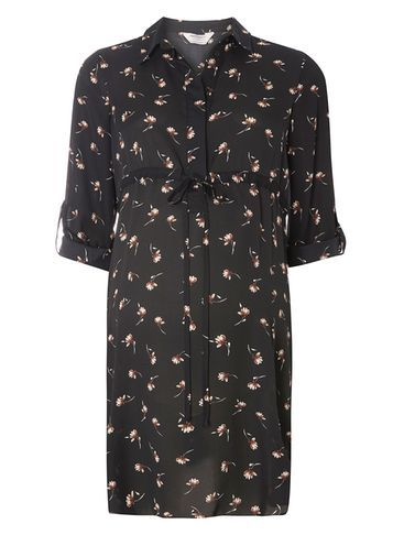Womens **Maternity Black Floral Tie Tunic Black - neckline: shirt collar/peter pan/zip with opening; style: tunic; waist detail: belted waist/tie at waist/drawstring; secondary colour: ivory/cream; predominant colour: black; occasions: casual; fibres: polyester/polyamide - 100%; fit: body skimming; length: mid thigh; sleeve length: 3/4 length; sleeve style: standard; texture group: cotton feel fabrics; pattern type: fabric; pattern: florals; multicoloured: multicoloured; season: a/w 2016; wardrobe: highlight