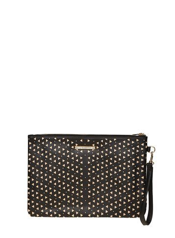Womens Black Laser Cut Wristlet Bag Black - secondary colour: nude; predominant colour: black; occasions: evening; type of pattern: heavy; style: clutch; length: hand carry; size: standard; material: faux leather; pattern: plain; finish: plain; multicoloured: multicoloured; season: a/w 2016; wardrobe: event
