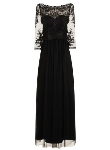 Womens **Chi Chi London Embroidered Maxi Dress Black - neckline: slash/boat neckline; pattern: plain; style: maxi dress; length: ankle length; predominant colour: black; occasions: evening; fit: fitted at waist & bust; fibres: polyester/polyamide - 100%; sleeve length: 3/4 length; sleeve style: standard; texture group: sheer fabrics/chiffon/organza etc.; pattern type: fabric; pattern size: standard; embellishment: lace; shoulder detail: sheer at shoulder; season: a/w 2016; wardrobe: event