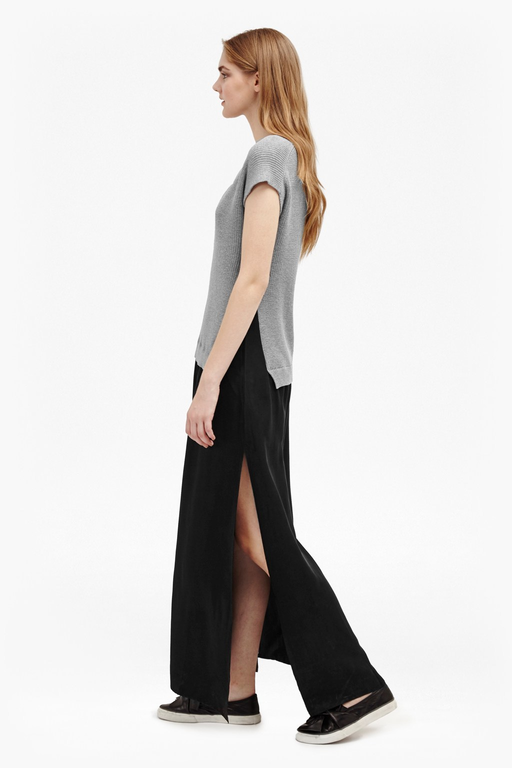 Talulah Knits Mix Maxi Dress Grey Mel/Black - neckline: v-neck; pattern: plain; style: maxi dress; hip detail: draws attention to hips; secondary colour: mid grey; predominant colour: black; occasions: casual; length: floor length; fit: body skimming; fibres: cotton - mix; sleeve length: short sleeve; sleeve style: standard; texture group: knits/crochet; pattern type: fabric; multicoloured: multicoloured; wardrobe: basic; season: a/w 2016