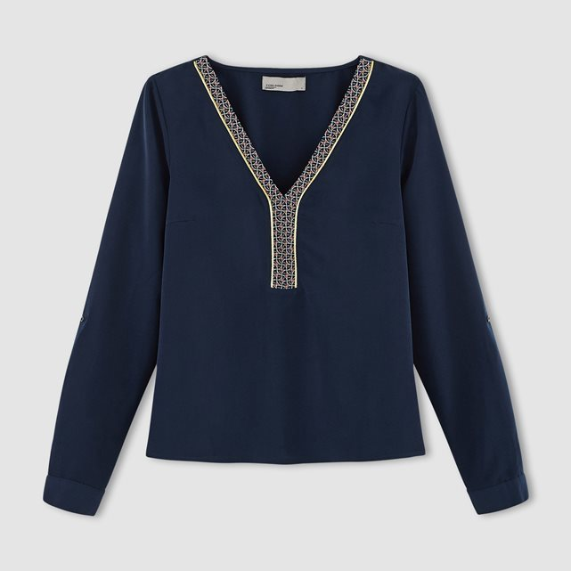 Long Sleeved V Neck Blouse - neckline: v-neck; style: blouse; secondary colour: white; predominant colour: navy; occasions: casual; length: standard; fibres: cotton - 100%; fit: straight cut; sleeve length: long sleeve; sleeve style: standard; texture group: cotton feel fabrics; pattern type: fabric; pattern size: light/subtle; pattern: patterned/print; season: a/w 2016; wardrobe: highlight