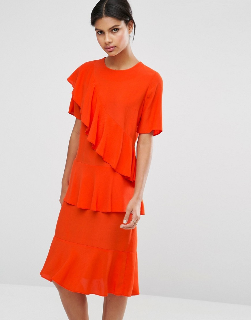 Modern Midi Tea Dress Orange - style: shift; length: below the knee; pattern: plain; predominant colour: bright orange; occasions: evening; fit: body skimming; fibres: viscose/rayon - 100%; neckline: crew; sleeve length: short sleeve; sleeve style: standard; bust detail: bulky details at bust; pattern type: fabric; texture group: jersey - stretchy/drapey; season: a/w 2016; wardrobe: event