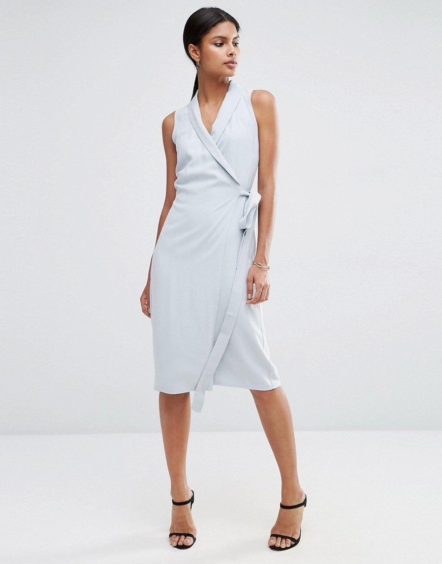 Wrap Midi Dress In Premium Fabric Pearl Blue - style: faux wrap/wrap; length: below the knee; neckline: v-neck; pattern: plain; sleeve style: sleeveless; waist detail: belted waist/tie at waist/drawstring; predominant colour: pale blue; occasions: evening; fit: body skimming; sleeve length: sleeveless; texture group: crepes; pattern type: fabric; fibres: viscose/rayon - mix; season: a/w 2016; wardrobe: event