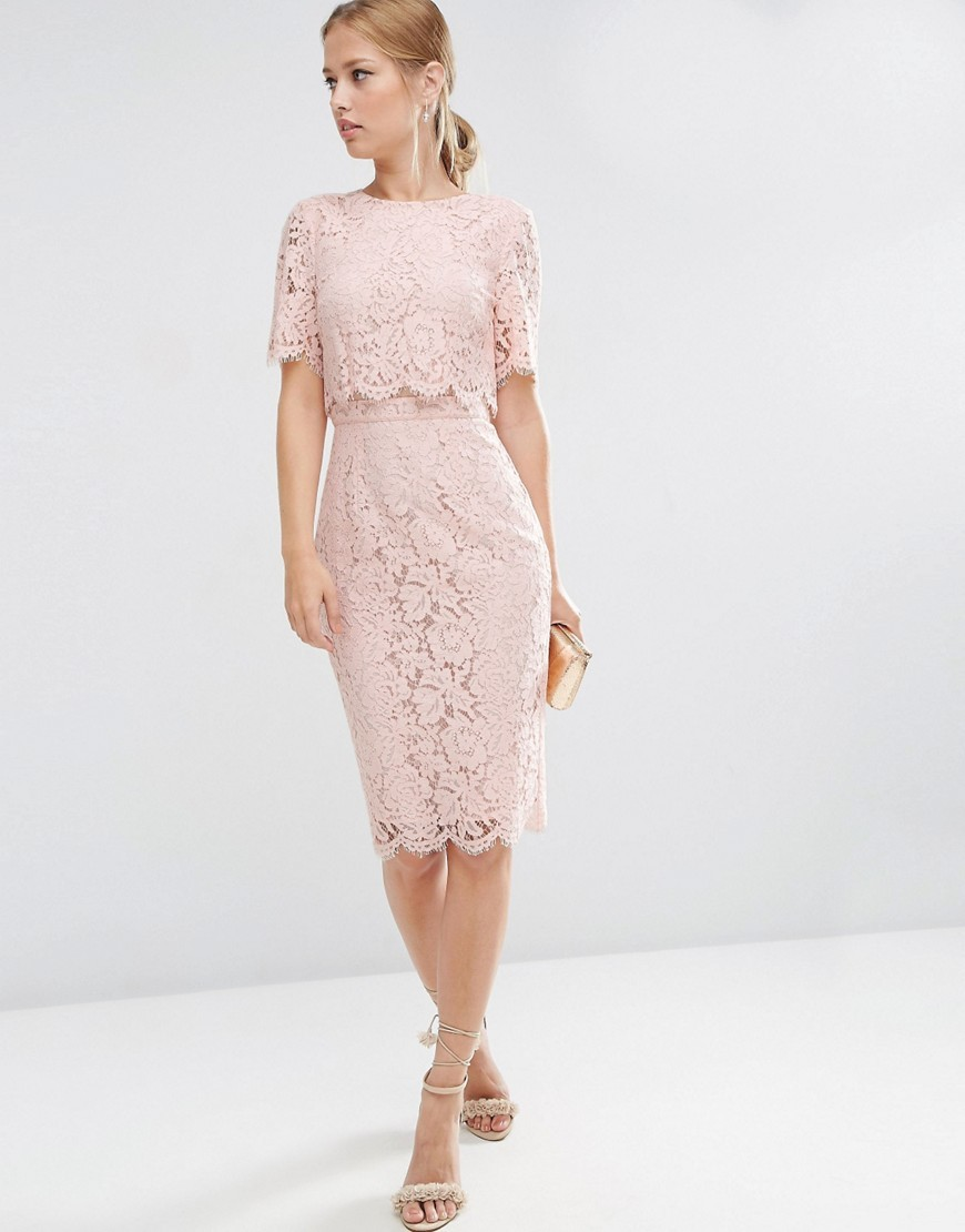 Lace Crop Top Midi Pencil Dress Nude - style: shift; fit: tailored/fitted; pattern: plain; bust detail: subtle bust detail; predominant colour: nude; occasions: evening; length: on the knee; fibres: cotton - mix; neckline: crew; sleeve length: short sleeve; sleeve style: standard; texture group: lace; pattern type: fabric; season: a/w 2016; wardrobe: event