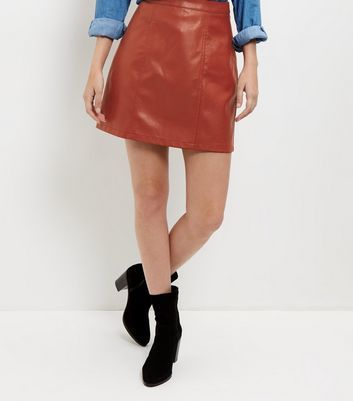 Tan Leather Look Seam Trim Mini Skirt - length: mini; pattern: plain; fit: loose/voluminous; waist: high rise; predominant colour: tan; occasions: casual, creative work; style: a-line; texture group: leather; pattern type: fabric; fibres: pvc/polyurethene - 100%; season: a/w 2016; wardrobe: highlight