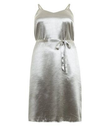 Curves Silver Metallic Slip Dress - length: mini; neckline: v-neck; sleeve style: spaghetti straps; pattern: plain; waist detail: belted waist/tie at waist/drawstring; predominant colour: silver; occasions: evening; fit: body skimming; style: slip dress; fibres: polyester/polyamide - stretch; sleeve length: sleeveless; texture group: silky - light; pattern type: fabric; season: a/w 2016; wardrobe: event