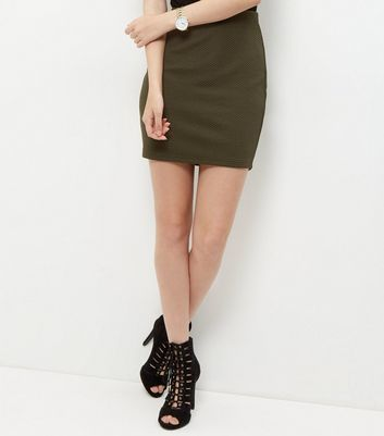 Khaki Textured Mini Skirt - length: mini; pattern: plain; fit: tight; waist: high rise; predominant colour: khaki; occasions: casual, creative work; style: mini skirt; fibres: polyester/polyamide - stretch; pattern type: fabric; texture group: jersey - stretchy/drapey; wardrobe: basic; season: a/w 2016