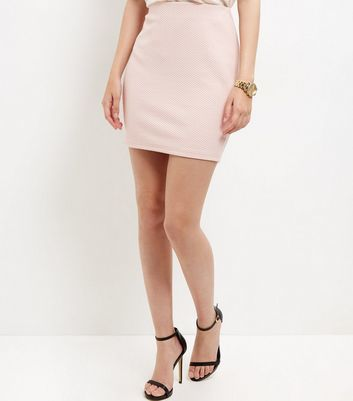 Shell Pink Textured Mini Skirt - length: mini; pattern: plain; fit: tailored/fitted; waist: high rise; predominant colour: blush; occasions: casual, creative work; style: mini skirt; fibres: polyester/polyamide - stretch; pattern type: fabric; texture group: other - light to midweight; wardrobe: basic; season: a/w 2016
