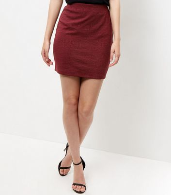 Burgundy Textured Mini Skirt - length: mid thigh; pattern: plain; style: straight; fit: body skimming; waist: high rise; predominant colour: burgundy; occasions: casual, evening; fibres: polyester/polyamide - stretch; pattern type: fabric; texture group: jersey - stretchy/drapey; season: a/w 2016; wardrobe: highlight