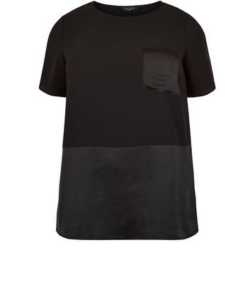 Curves Black Contrast Pocket T Shirt - pattern: plain; style: t-shirt; predominant colour: black; occasions: evening; length: standard; fibres: polyester/polyamide - stretch; fit: body skimming; neckline: crew; sleeve length: short sleeve; sleeve style: standard; pattern type: fabric; texture group: jersey - stretchy/drapey; season: a/w 2016; wardrobe: event