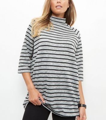 Grey Stripe Funnel Neck 3/4 Sleeve Oversized Top - pattern: horizontal stripes; neckline: high neck; length: below the bottom; predominant colour: light grey; secondary colour: black; occasions: casual; style: top; fibres: polyester/polyamide - mix; fit: loose; sleeve length: 3/4 length; sleeve style: standard; pattern type: fabric; texture group: jersey - stretchy/drapey; multicoloured: multicoloured; wardrobe: basic; season: a/w 2016