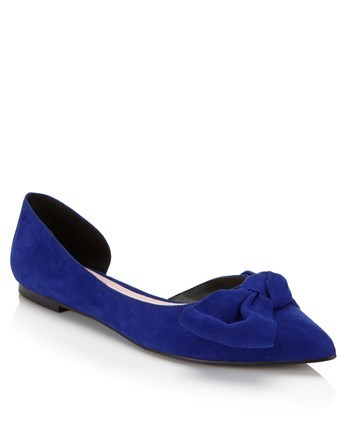 Bow Point Ballerina Shoes - predominant colour: royal blue; occasions: casual; heel height: flat; toe: pointed toe; style: ballerinas / pumps; finish: plain; pattern: plain; embellishment: bow; material: faux suede; season: a/w 2016; wardrobe: highlight
