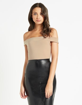 Off The Shoulder Body - neckline: off the shoulder; sleeve style: capped; pattern: plain; predominant colour: nude; occasions: evening; length: standard; fibres: polyester/polyamide - stretch; fit: tight; sleeve length: short sleeve; texture group: jersey - clingy; pattern type: fabric; style: bodysuit; season: a/w 2016; wardrobe: event