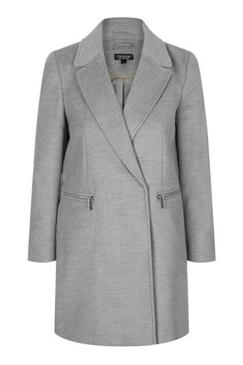 Petite Boyfriend Zip Coat - pattern: plain; length: below the bottom; style: single breasted; fit: slim fit; collar: standard lapel/rever collar; predominant colour: mid grey; occasions: work, creative work; fibres: polyester/polyamide - stretch; sleeve length: long sleeve; sleeve style: standard; collar break: medium; pattern type: fabric; texture group: woven bulky/heavy; trends: chic girl, tomboy girl; season: s/s 2016