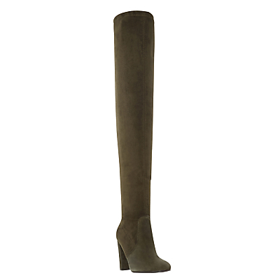 Sibyl Block Heeled Over The Knee Boots - predominant colour: khaki; occasions: casual, creative work; material: leather; heel height: high; heel: block; toe: round toe; boot length: over the knee; style: standard; finish: plain; pattern: plain; season: s/s 2016; wardrobe: investment