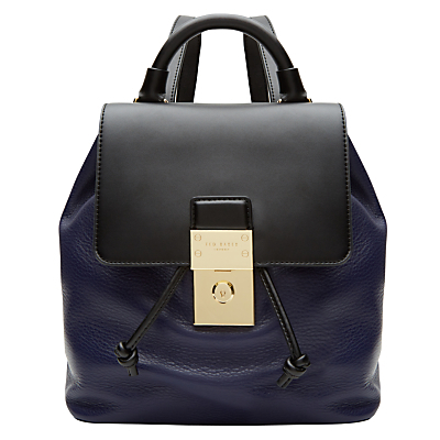 Nahra Leather Backpack, Dark Blue - predominant colour: navy; secondary colour: navy; occasions: casual, creative work; type of pattern: standard; style: rucksack; length: rucksack; size: standard; material: leather; finish: plain; pattern: colourblock; season: a/w 2016; wardrobe: highlight