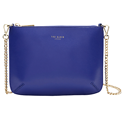 Nara Leather Across Body Bag - predominant colour: royal blue; occasions: evening; type of pattern: standard; style: clutch; length: across body/long; size: standard; material: leather; pattern: plain; finish: plain; season: a/w 2016