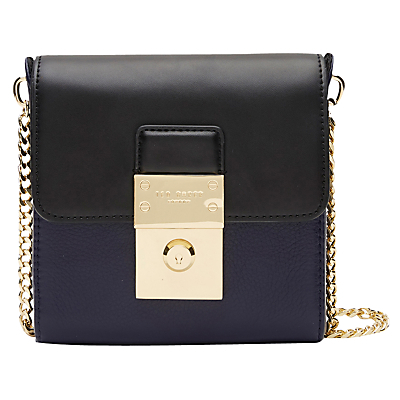 Taela Across Body Bag, Dark Blue - predominant colour: navy; secondary colour: gold; occasions: casual; type of pattern: standard; style: messenger; length: across body/long; size: small; material: leather; pattern: plain; finish: metallic; embellishment: chain/metal; multicoloured: multicoloured; season: a/w 2016; wardrobe: highlight