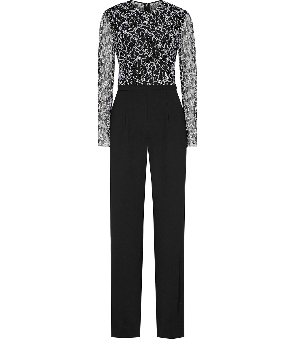 Mayenne Womens Lace Top Jumpsuit In Black - length: standard; fit: tailored/fitted; pattern: plain; secondary colour: white; predominant colour: black; occasions: evening, occasion; fibres: polyester/polyamide - 100%; neckline: crew; sleeve length: long sleeve; sleeve style: standard; trends: monochrome; texture group: crepes; style: jumpsuit; pattern type: fabric; embellishment: lace; season: a/w 2016; wardrobe: event