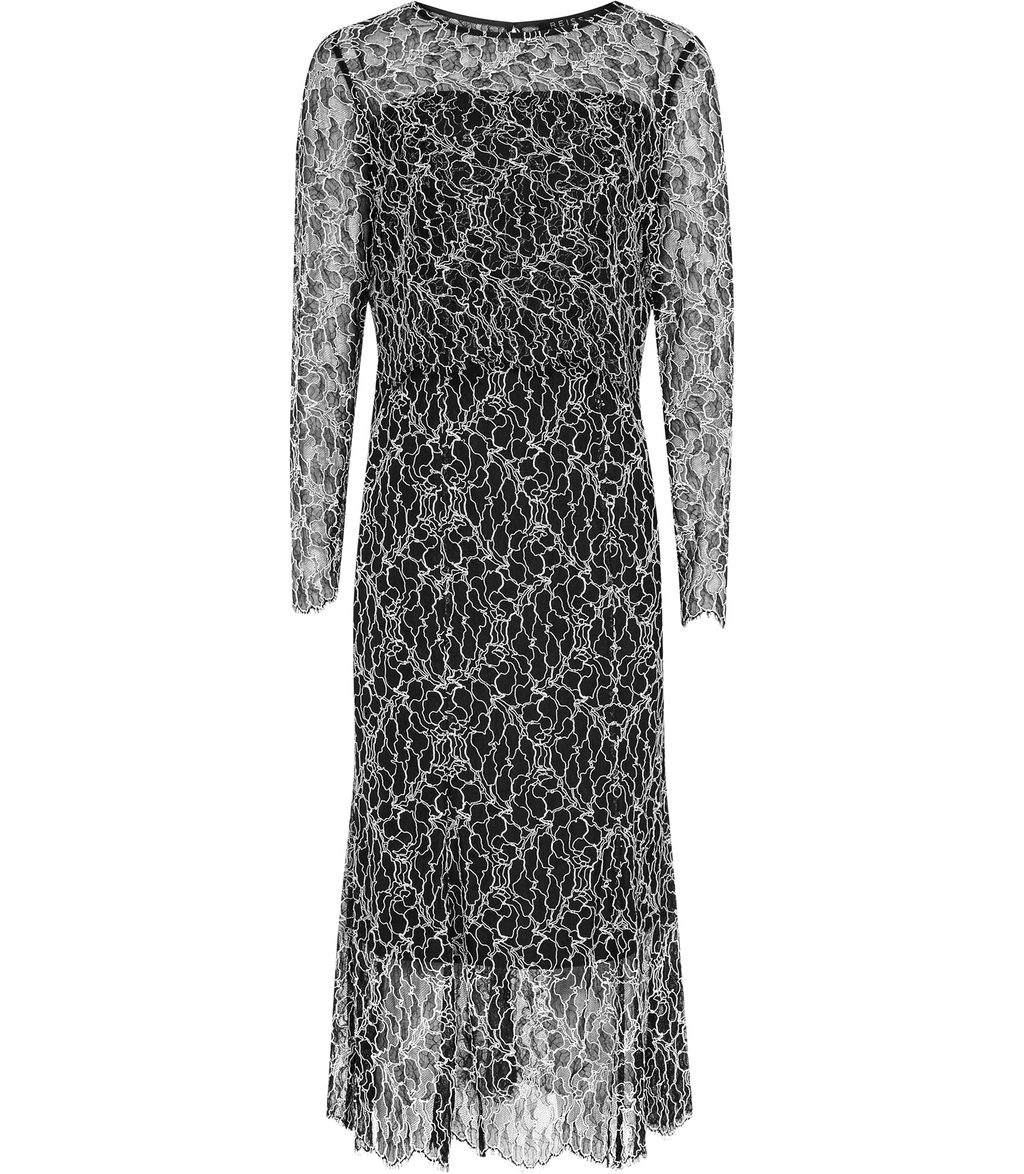 Maine Womens Lace Midi Dress In Black - style: shift; length: calf length; predominant colour: black; occasions: evening; fit: body skimming; fibres: viscose/rayon - stretch; neckline: crew; sleeve length: long sleeve; sleeve style: standard; texture group: lace; pattern type: fabric; pattern: patterned/print; season: a/w 2016; wardrobe: event