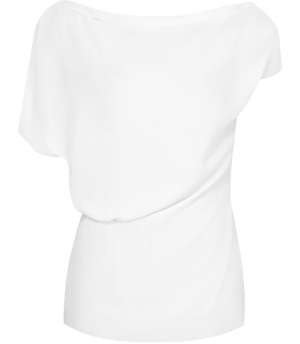 Sanna Womens Asymmetric Top In White - neckline: slash/boat neckline; pattern: plain; sleeve style: asymmetric sleeve; style: t-shirt; predominant colour: ivory/cream; length: standard; fibres: polyester/polyamide - 100%; fit: body skimming; sleeve length: short sleeve; texture group: crepes; pattern type: fabric; occasions: creative work; wardrobe: basic; season: a/w 2016