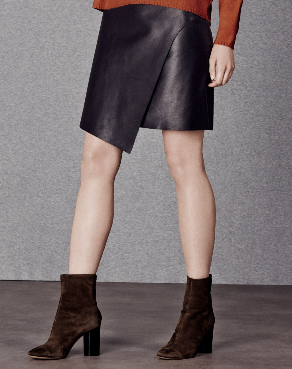 Asymmetric Leather Skirt Black - pattern: plain; style: wrap/faux wrap; fit: tailored/fitted; waist: mid/regular rise; predominant colour: black; occasions: casual, evening, creative work; length: just above the knee; fibres: leather - 100%; texture group: leather; pattern type: fabric; season: a/w 2015