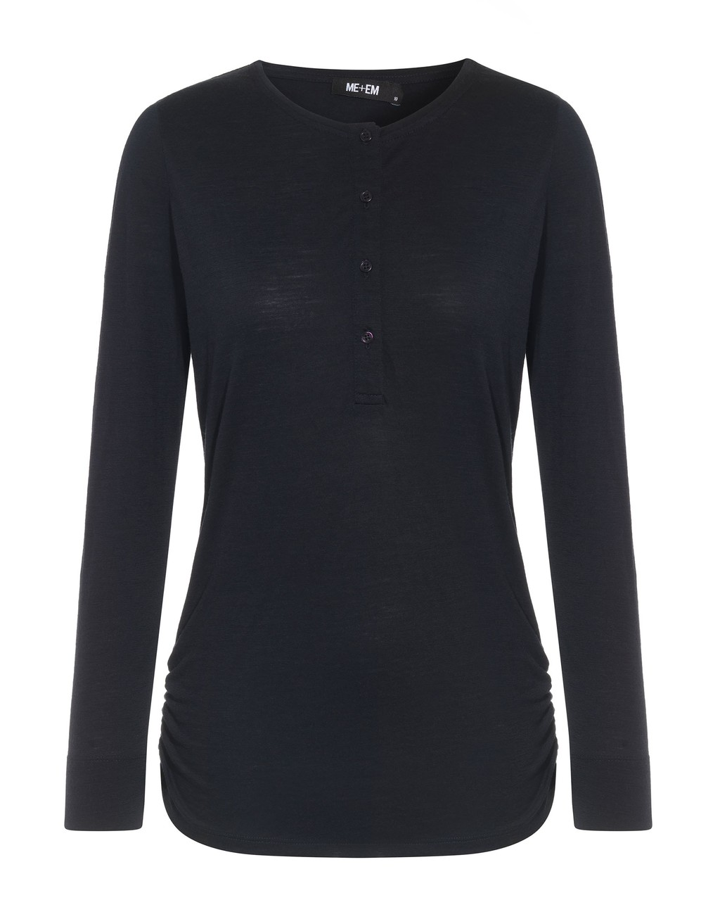 Luxe Henley Tee Navy - pattern: plain; predominant colour: black; occasions: casual; length: standard; style: top; fibres: wool - 100%; fit: body skimming; neckline: crew; sleeve length: long sleeve; sleeve style: standard; pattern type: fabric; texture group: jersey - stretchy/drapey; wardrobe: basic; season: a/w 2016