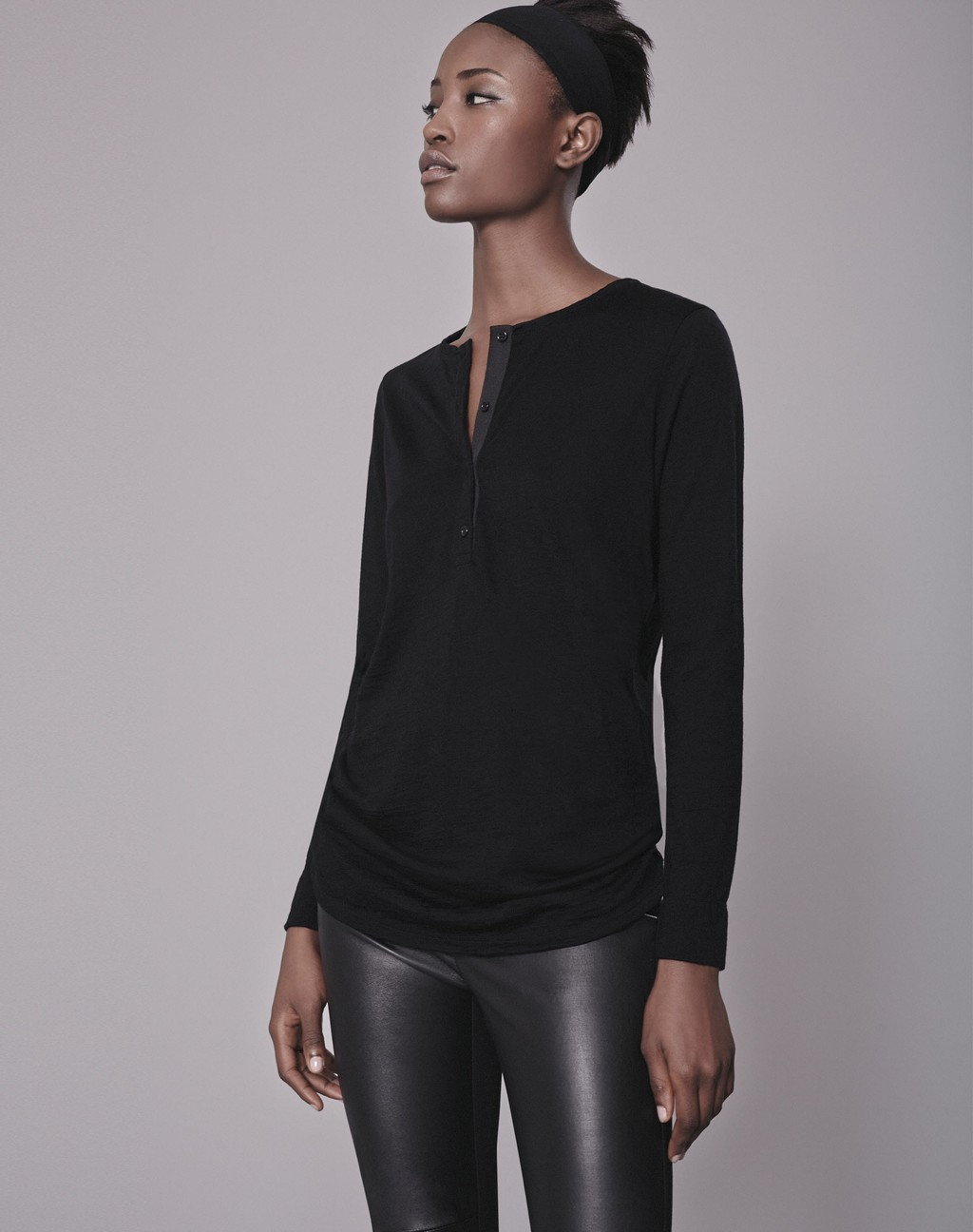 Luxe Henley Tee Black - neckline: v-neck; pattern: plain; predominant colour: black; occasions: evening; length: standard; style: top; fibres: wool - 100%; fit: body skimming; sleeve length: long sleeve; sleeve style: standard; pattern type: fabric; texture group: jersey - stretchy/drapey; season: a/w 2016; wardrobe: event