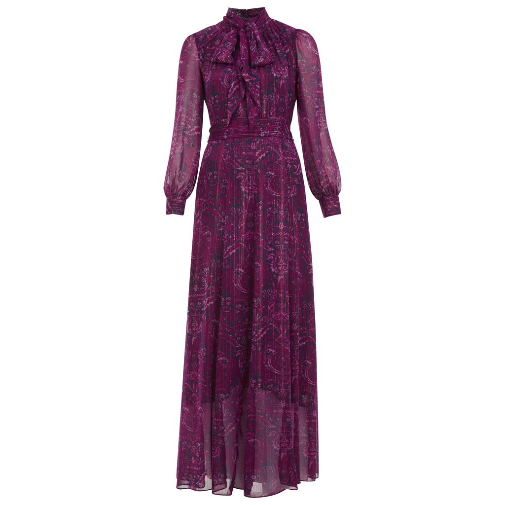 Heraldic Print Tie Neck Maxi Dress - length: mid thigh; style: maxi dress; waist detail: fitted waist; pattern: paisley; neckline: pussy bow; sleeve style: balloon; predominant colour: magenta; secondary colour: navy; fit: fitted at waist & bust; fibres: polyester/polyamide - 100%; occasions: occasion; hip detail: soft pleats at hip/draping at hip/flared at hip; sleeve length: long sleeve; texture group: sheer fabrics/chiffon/organza etc.; pattern type: fabric; pattern size: standard; season: a/w 2016; wardrobe: event