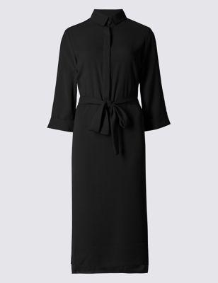 Soft Shirt Dress - style: shirt; length: below the knee; neckline: shirt collar/peter pan/zip with opening; pattern: plain; waist detail: belted waist/tie at waist/drawstring; predominant colour: black; occasions: evening; fit: body skimming; fibres: polyester/polyamide - 100%; sleeve length: 3/4 length; sleeve style: standard; texture group: crepes; pattern type: fabric; season: a/w 2016; trends: metropolis