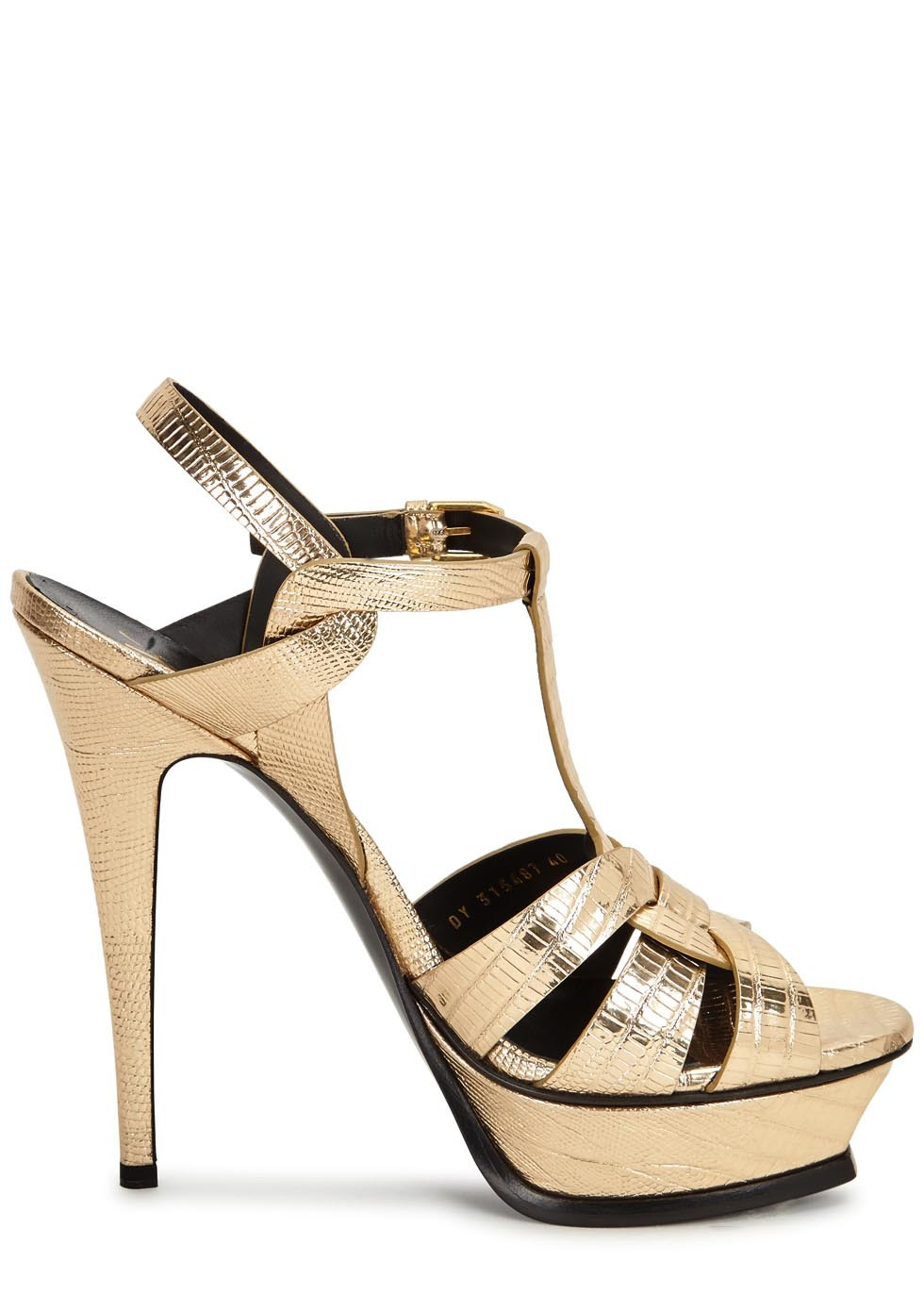 Tribute Gold Lizard Embossed Sandals - predominant colour: gold; occasions: evening; material: leather; ankle detail: ankle strap; heel: wedge; toe: open toe/peeptoe; style: strappy; finish: metallic; pattern: plain; heel height: very high; shoe detail: platform; season: a/w 2016; wardrobe: event