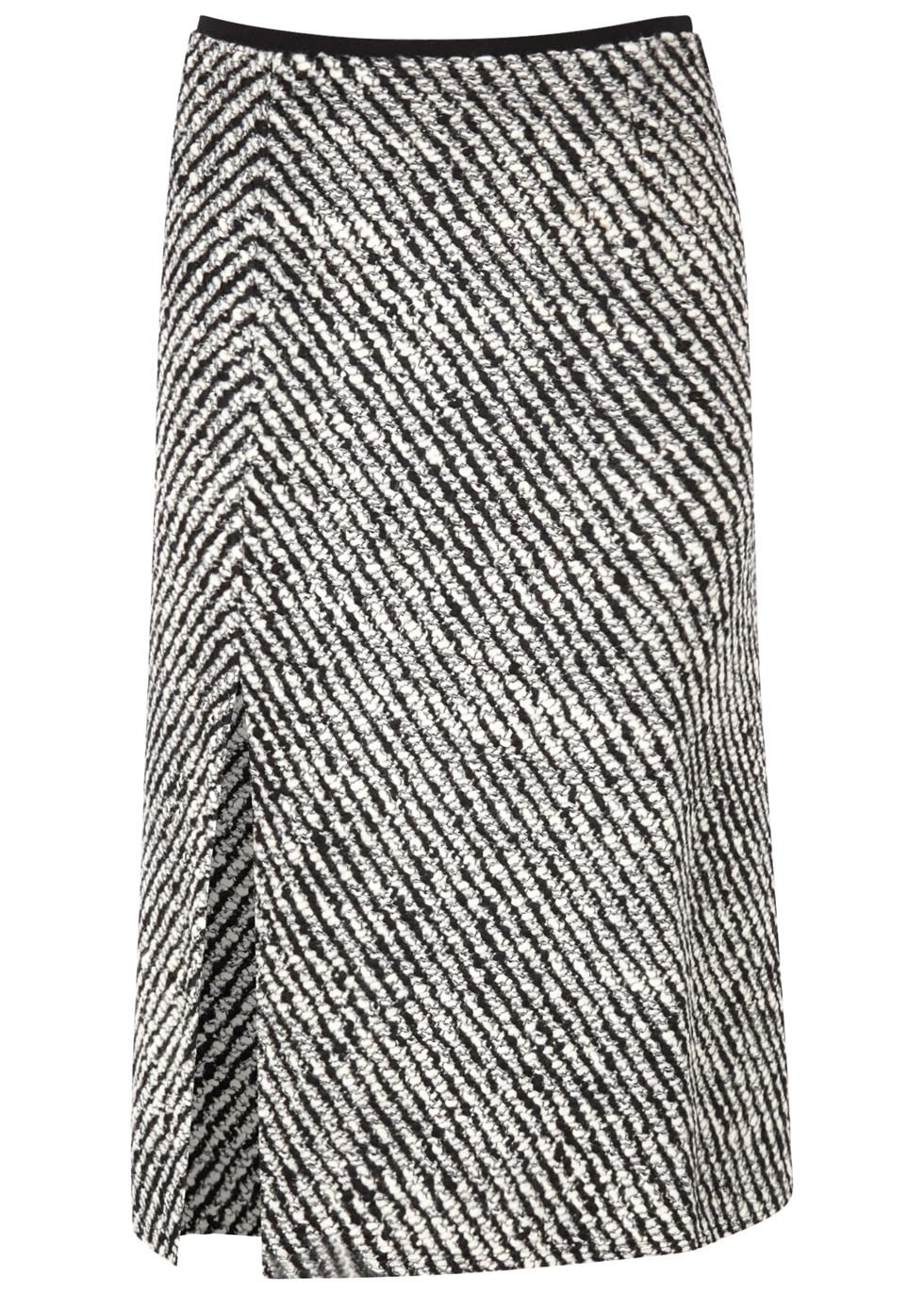 Inko Bouclé Tweed Midi Skirt - length: below the knee; style: straight; pattern: herringbone/tweed; waist: mid/regular rise; predominant colour: white; secondary colour: black; occasions: work, creative work; fibres: wool - mix; fit: straight cut; pattern type: knitted - other; texture group: tweed - light/midweight; pattern size: standard (bottom); season: a/w 2016