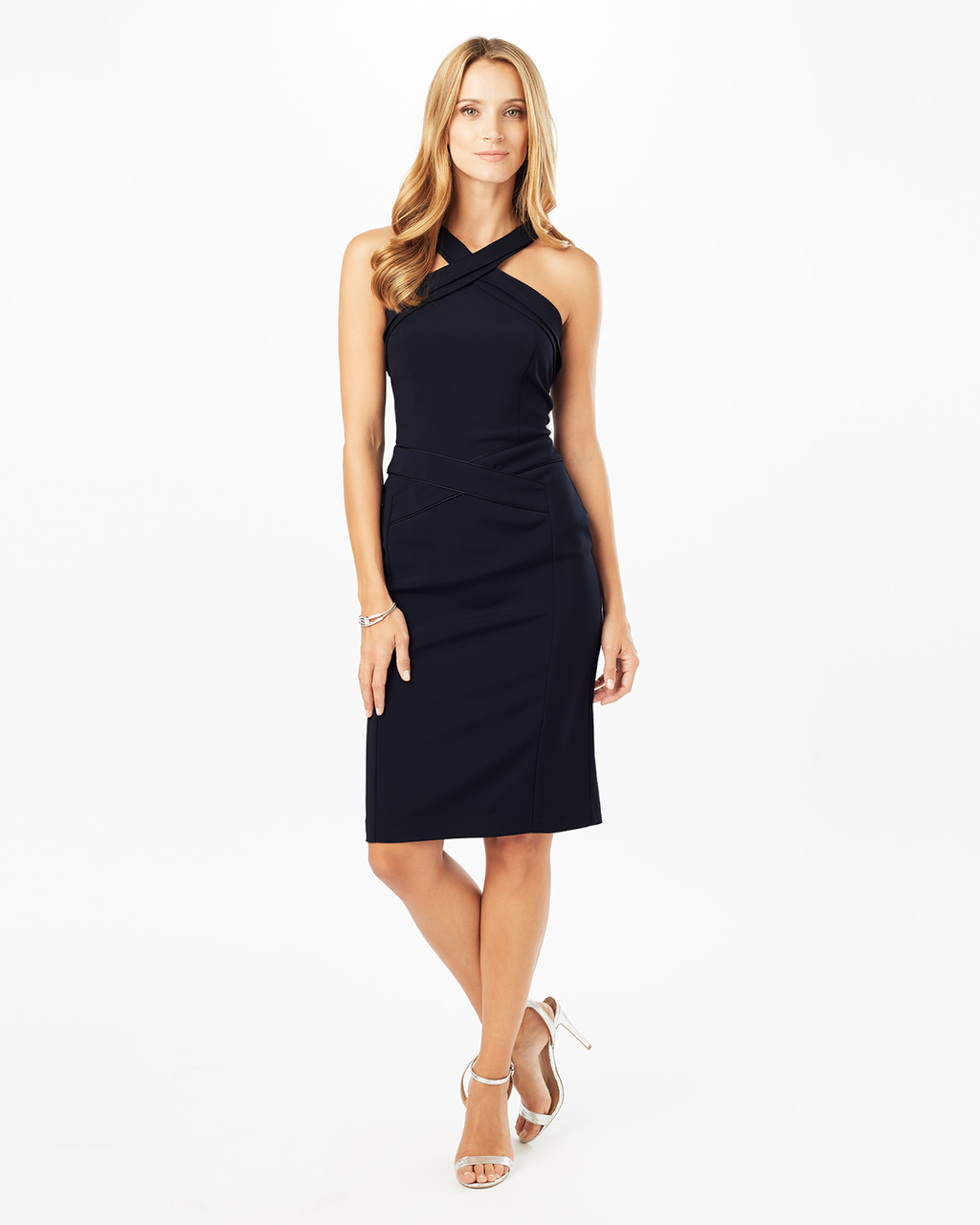 Abia Dress - style: shift; fit: tailored/fitted; pattern: plain; sleeve style: sleeveless; predominant colour: navy; occasions: evening, occasion; length: on the knee; fibres: polyester/polyamide - 100%; sleeve length: sleeveless; texture group: crepes; pattern type: fabric; neckline: high halter neck; season: a/w 2016; wardrobe: event