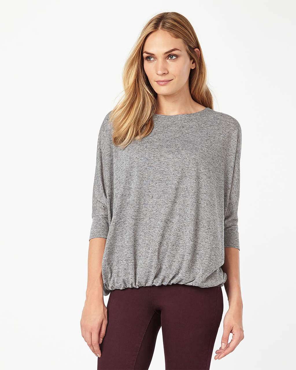 Briony Blouson Top - pattern: plain; predominant colour: light grey; occasions: casual; length: standard; style: top; fibres: polyester/polyamide - mix; fit: body skimming; neckline: crew; sleeve length: 3/4 length; sleeve style: standard; pattern type: fabric; texture group: jersey - stretchy/drapey; wardrobe: basic; season: a/w 2016