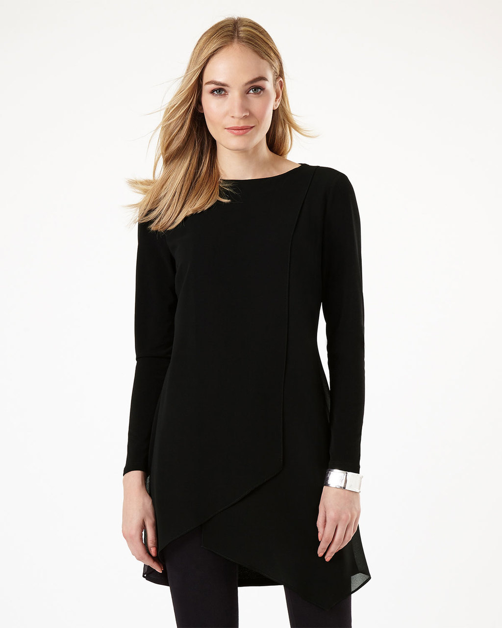 Vinny Tunic - pattern: plain; length: below the bottom; style: tunic; predominant colour: black; occasions: evening; fibres: polyester/polyamide - stretch; fit: body skimming; neckline: crew; sleeve length: long sleeve; sleeve style: standard; pattern type: fabric; texture group: jersey - stretchy/drapey; season: a/w 2016; wardrobe: event