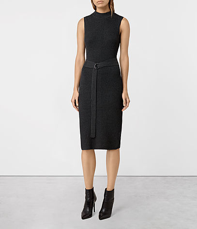 East Dress - length: below the knee; fit: tight; pattern: plain; sleeve style: sleeveless; neckline: high neck; style: bodycon; waist detail: belted waist/tie at waist/drawstring; predominant colour: black; occasions: evening; fibres: cotton - 100%; sleeve length: sleeveless; pattern type: fabric; texture group: jersey - stretchy/drapey; season: a/w 2016; wardrobe: event